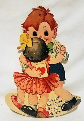 Vintage VALENTINE Card Boy & Girl Dancing Lg Mechanical Stand-Up Made in Germany