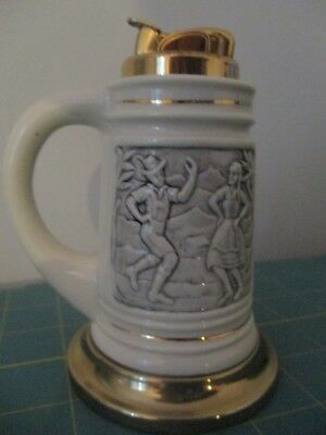 Vintage Evans Stein Table Lighter with Embossed Polka Dancers