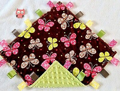 Double Minky! Brown Butterfly Minky & Green Minky Taggie Tag Security Blanket