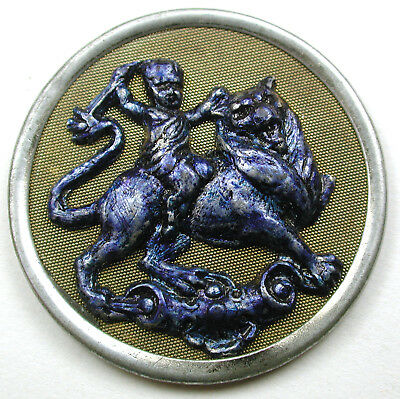 BB Lg Sz Antique Pewter & Brass Button Satyr Riding a Lion Image 1 & 1/2""