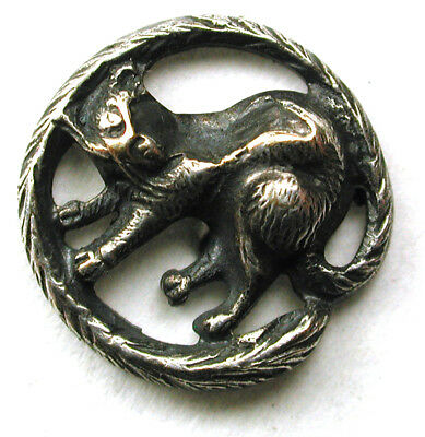 "BB Antique Button Pierced Cat w Tail as the Border  1/2"" So cute!"