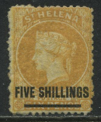 St. Helena QV 1868 FIVE SHILLINGS overprinted on 6d orange mint o.g.