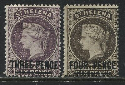 St. Helena QV 1884-87 THREE PENCE and FOUR PENCE on 6d browns mint o.g.