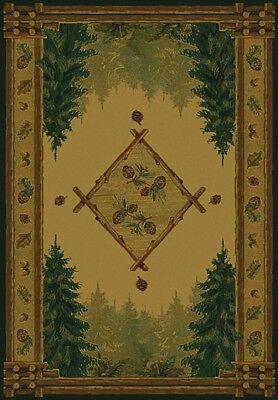 "southwestern LODGE green BEIGE 2x8 FOREST area RUG : Actual 1' 11"" x 7' 4"""