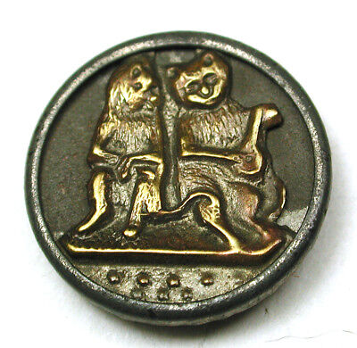 BB Charming Antique Brass Button Serenading Cats Scarce! 9/16""