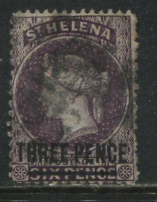 St. Helena QV 1882 6d overprinted THREE PENCE used