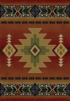 "southwestern BURGUNDY beige 2x8 rustic LODGE area RUG : Actual 1' 11"" x 7' 4"""