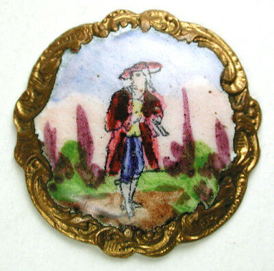 "BB Antique Brass & Enamel Button Man in 1800s Costume & Fancy Border 7/8"" Paris"