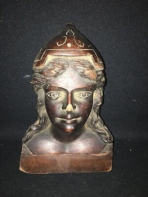 "1920's 9 1/8"" Carved Wood Female Bust Pediment"