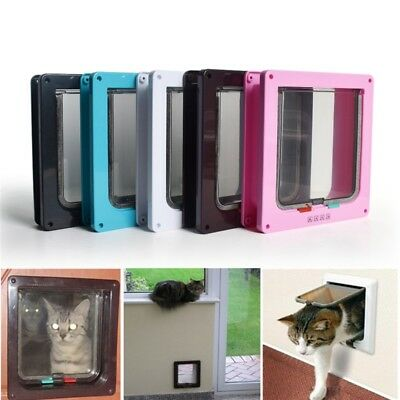 4 Ways Pet Flap Door Medium Small Large Cat Dog Magnetic Lockable Entry Exit New