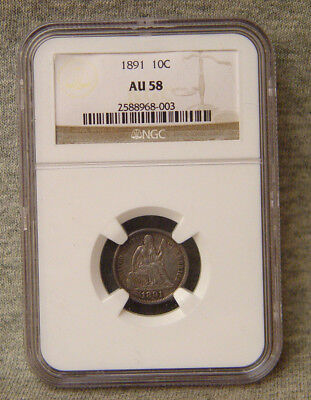 1891 seated liberty dime ~ 10c ~ au 58 ngc ~ nr!