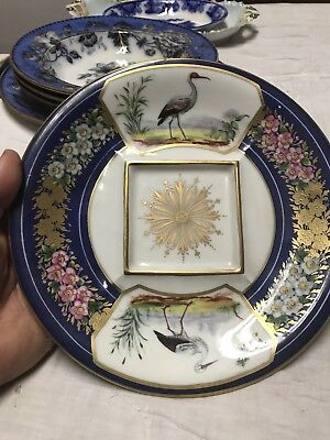 Antique French Old Paris Signed Hand Painted Heron Crane Stork Beautiful 1800's
