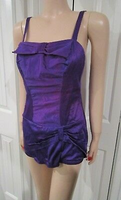 Vintage 1950's Purple Pin Up One Piece Swimsuit. Zip Back, Gathered Bow Details!