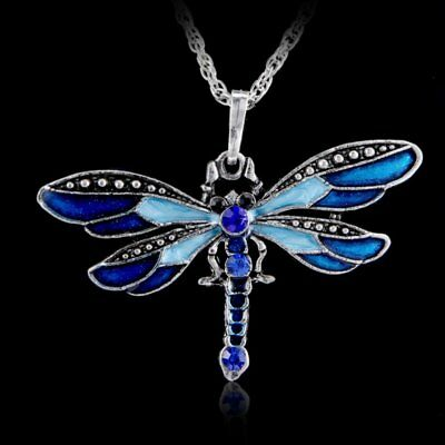 Women Crystal Insect Dragonfly Animal Pendant Necklace Sweater Chain Jewelry New