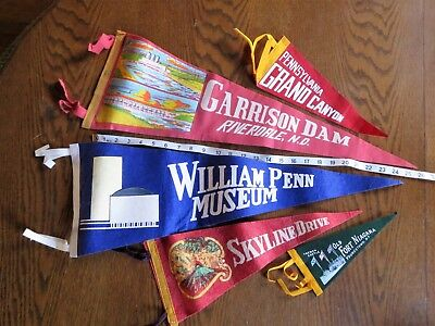 lot 5 vintage pennant flags PA ND NY Garrison Dam, William Penn Museum