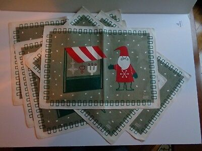Set of 6 JERRY ROUPE Vintage Christmas Holiday Linen Placemats Collectible HURRY