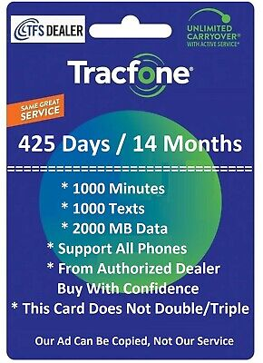 TracFone 1+ Year 425 days 750 Mins/1k Text/1G Data for Locked SmartPhone,No BYOP