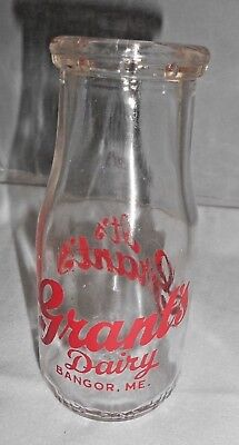 Vtg Grant's Dairy Bangor ME Maine Milk Bottle Pyro Half Pint ACL Red Grants