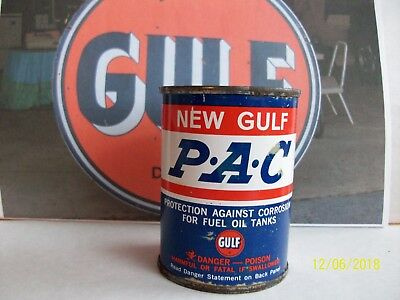 Gulf Oil Can Vintage 4 oz Full NOS P.A.C. Lead Seal Clean Bright Color Gulf Oil