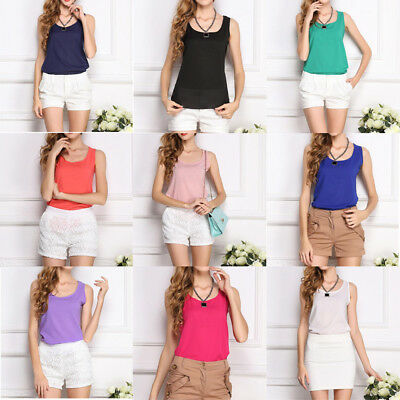 Womens Plain Sleeveless Tank Blouse Ladies Chiffon Camisole Vest Tops Cami Plus