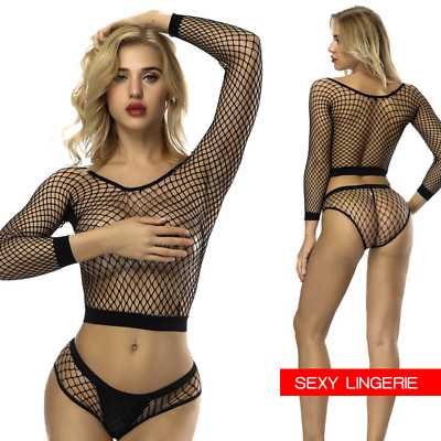Hot Sexy Dessous Netzstrumpfhose Bikini Set Knickers Frauen Body Stocking Mesh