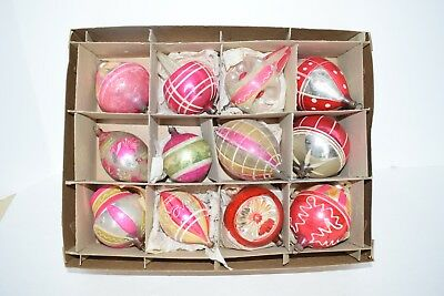 Antique Early Glass CHRISTMAS Ornaments FANCY SHAPES Pink Silver INDENTS