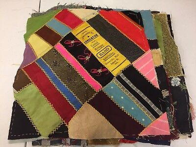 Vintage Antique Victorian Crazy Quilt Blocks Silk Satin Velvet Wool Embroidery