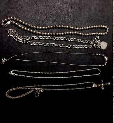Sterling Silver  Necklace Lot Wearsble Conditon , Resale Or Scrap
