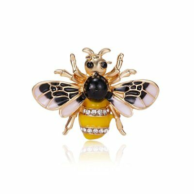 Small Crystal Rhinestone Insect Honey Bee Brooch Pin Women Costume Jewelry Gift