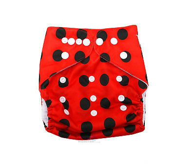 Modern Cloth Reusable Washable Baby Nappy Diaper & Insert, Cute Red Polka Dots