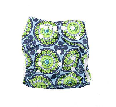 Modern Cloth Reusable Washable Baby Nappy Diaper & Insert, Blue & Green Retro