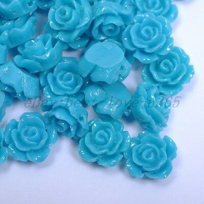 20pcs Light Blue Gorgeous Rose Flower Coral Resin Spacer Beads 12MM
