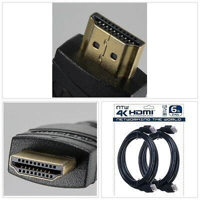 HDMI CABLE 6 ft. Ultra HD 4K Ethernet 2 Pack Long Lasting Gold Plated Connectors
