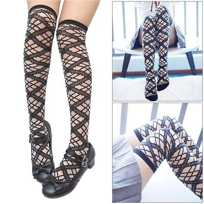 Girls Lace Stockings Lolita Cute Thigh High Hollow Out Over Knee Socks Cosplay