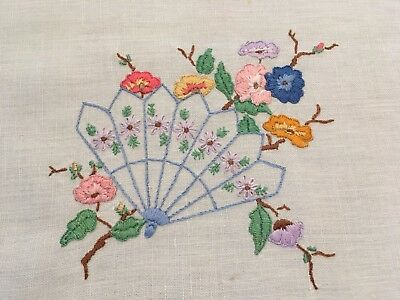 Vintage Hand Embroidered Doily Floral Fan