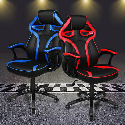 Sports Office Racing Chair Seat Executive Gaming PU Leather Car Deluxe Computer