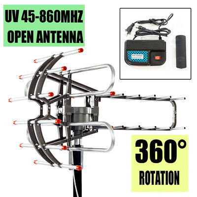 HDTV Outdoor Amplified 1080P HD TV Antenna Digital UHF/VHF 360°Rotor Remote