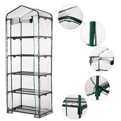 3-5 Tier Greenhouse Garden Mini Frame PVC Cover Roll Up Front Grow Plant Outdoor