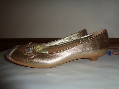 Sesto Meucci Ballet Metalic Gold Leather Flats 9M Made in Italy