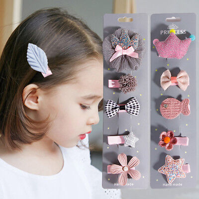 Hot 5Pcs/set Hairpin Baby Girl Hair Clip Bow Flower Barrettes Kids Infant Cute