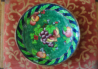 """LOSOL WARE HAND DECORATED BUTTERFLY AND GRAPE DESIGN BOWL 9.5"""" WIDE 1920s"""
