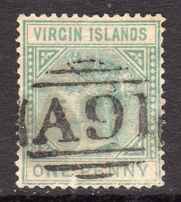 British Virgin Is QV 1879-80  1d Emerald Green SG24 Used (A91 Mailboat Cancel)