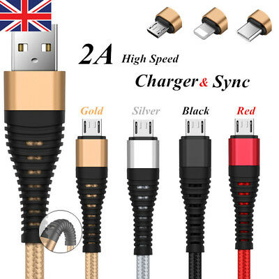 Lightning Nylon Braided 1M 2M 3M USB Charger Cable For iPhone 6 6S 7 8 X IPad UK
