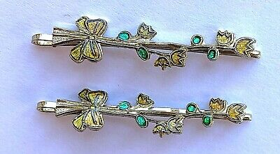 Vintage Hair Pins - Pair of Yellow/Green Flower Bobby pins