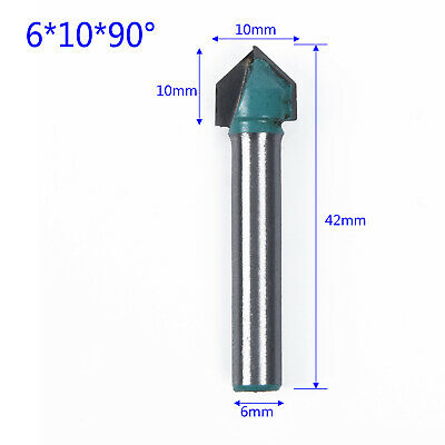 CNC 90° 90 Degree Router Engraving WoodWorking V Groove Bit 6x10mm Cutter Tool