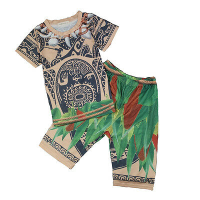 Summer Kids Boys Moana Maui T-shirt Tees & Pants Pyjamas Cosplay Costume Set