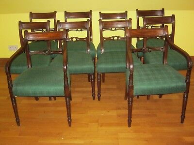 Set Of 10 Ten Original Regency Dining Chairs