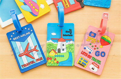 Cartoon Silicone Travel Luggage Tags Baggage Suitcase Labels Name Address Hot