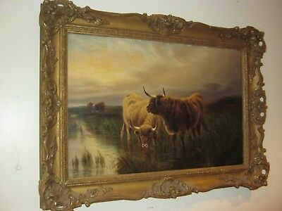 Impressive Highland Cattle Oil Painting By William Perring Hollyer 1834-1922