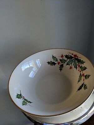 Vintage Lenox 24-K Gold Trim Holly Berry Fine China 9.5 Inch Bowl Dish